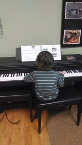 Practicing piano in the classroom